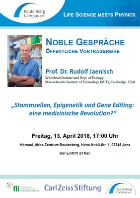 """Prof. Dr. Rudolf Jaenisch at """"Noble Talks"""""""